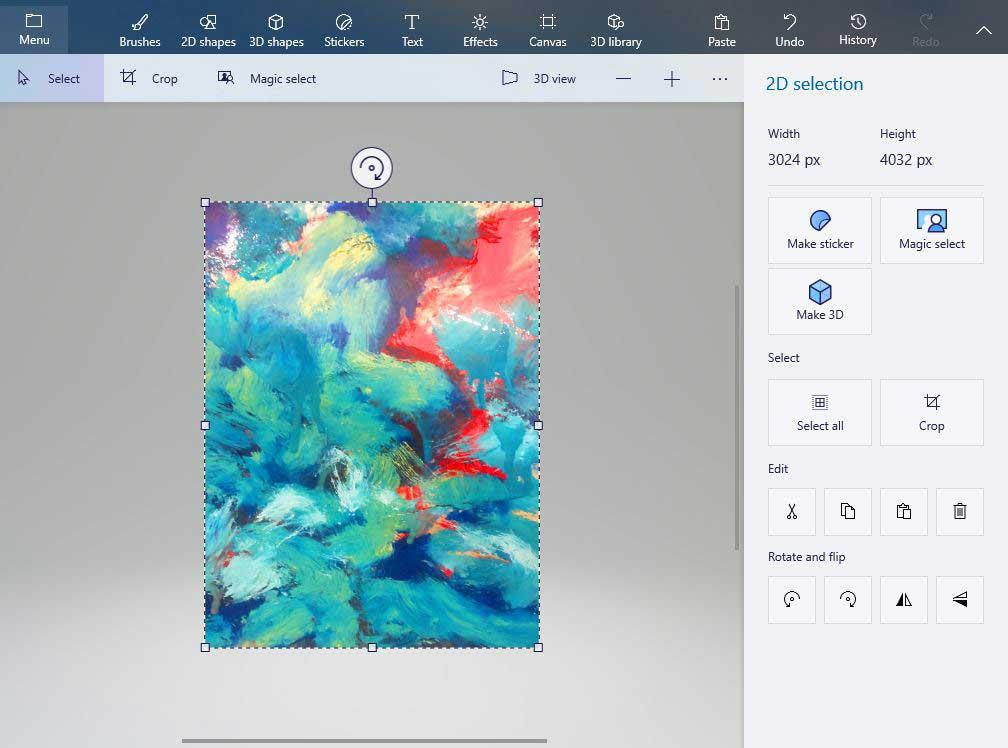 paint 3D UI