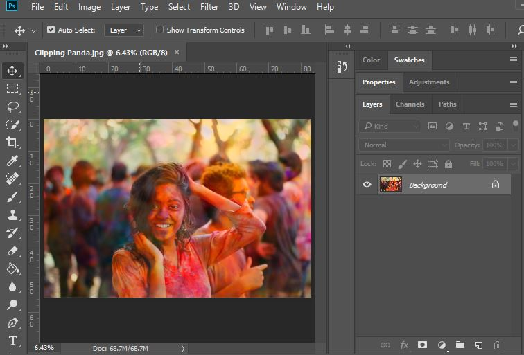 opening image in Photoshop