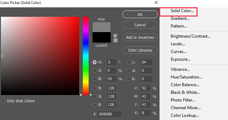 Solid color layer and color picker