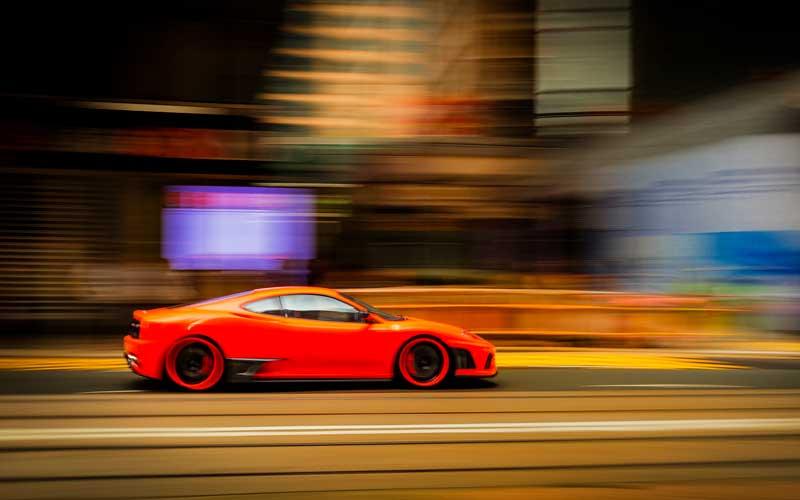 Panning shot of a car
