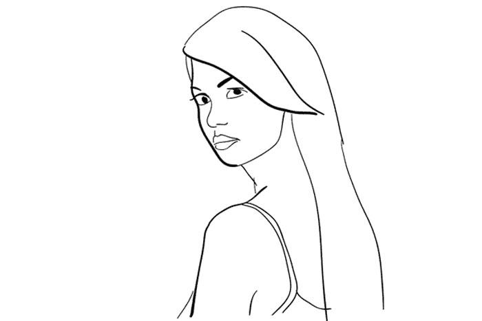 Simple portrait female pose