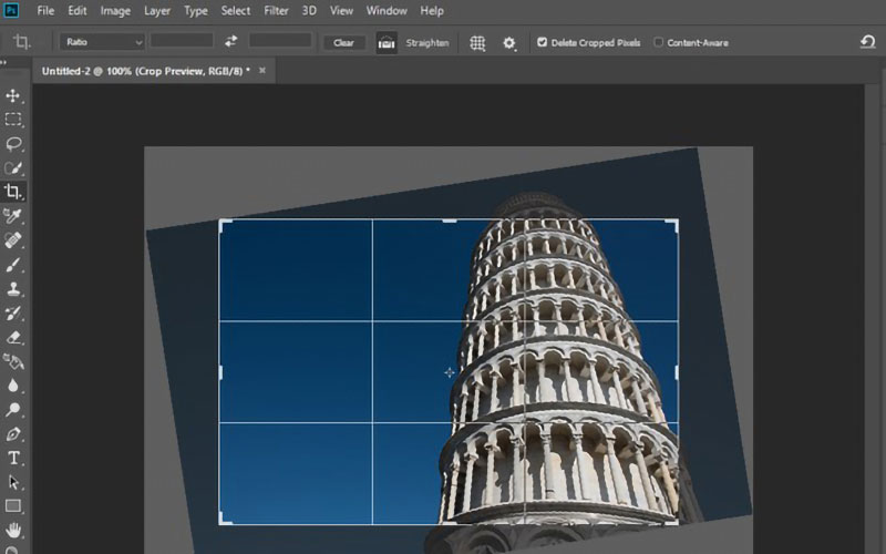 Crop rotation in Photoshop
