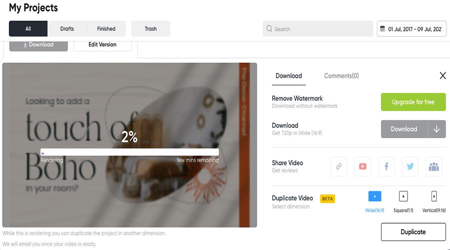Export option-InVideo